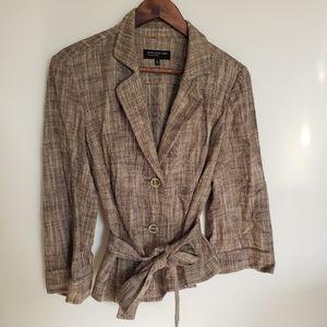 Jones New York Linen Blend Lagenlook Jacket Blazer